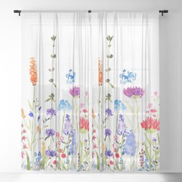 colorful wild flowers watercolor painting Sheer Curtain