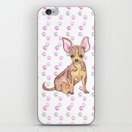 Cute Chihuahua Puppy in Watercolor and Paw Prints iPhone Skin