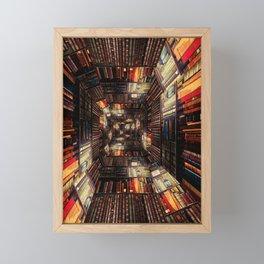 Bookshelf Books Library Bookworm Reading Pattern Framed Mini Art Print