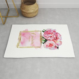 Perfume bottle with flowers, Peony, Peonies, Pink, gold, watercolor, Perfume, Pink, Gold ,Fashion Rug
