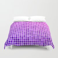 mosaic Duvet Covers featuring Pink purple mosaic by David Zydd