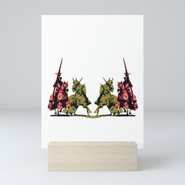 medieval knights with sword and lance Mini Art Print
