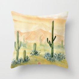 Desert Sunset Landscape Throw Pillow