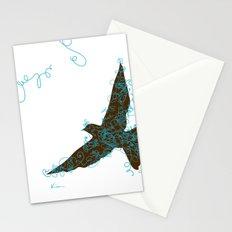 Bird Fly No. 2  (Brown/Aqua) Stationery Cards