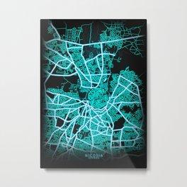 Nicosia, Cyprus, Blue, White, Neon, Glow, City, Map Metal Print