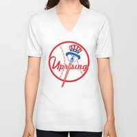 yankees V-neck T-shirts featuring the NY uprising by Jacekeller