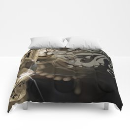 Sparkly Chandelier & Damask Comforters