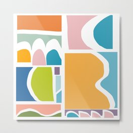 Playful Abstract Paper Cut-Out Shapes in Fun Color Metal Print