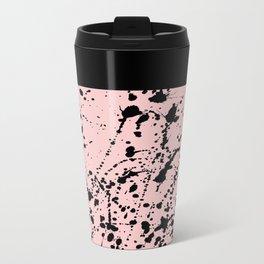 Splat Black on Blush Boarder 2 Metal Travel Mug