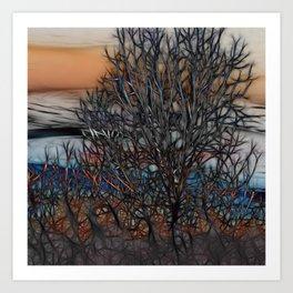 Abstract Sunset Tree Art Print