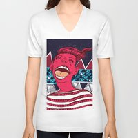 moscow V-neck T-shirts featuring Moscow Madness by Jay Jenkins
