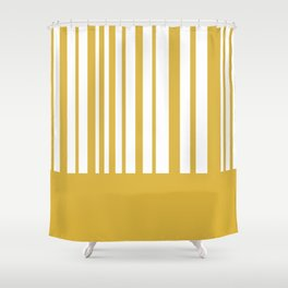 Mustard Yellow and White Half Stripe Minimalist Color Block Pattern Shower Curtain