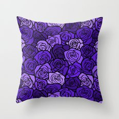 Romantic Purple roses with black outline Throw Pillow