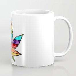 Rainbow Striped Marijuana Leaf Coffee Mug