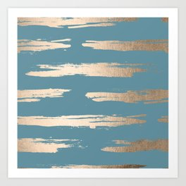 Abstract Painted Stripes Gold Tropical Ocean Blue Art Print