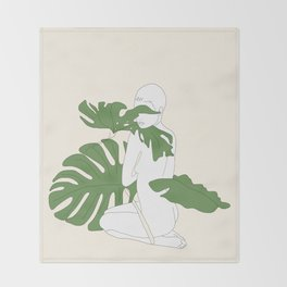 Woman with Monstera Leaves Throw Blanket