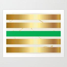 Gold & Green Stripe on Marble Art Print
