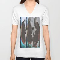 twins V-neck T-shirts featuring Twins by Jane Lacey Smith