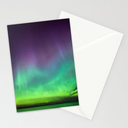 Northern lights over lake in Finland Stationery Cards
