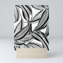 Dracaena Tropical Leaves Pattern Black & White #2 #tropical #decor #art #society6 Mini Art Print