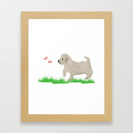 Cockapoo dog art cream Framed Art Print
