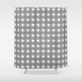 Black and White Woven Whirls Shower Curtain