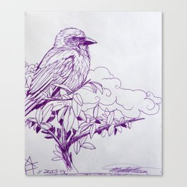 Purple Ink Bird Canvas Print