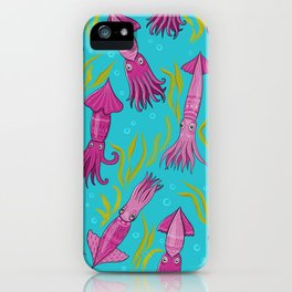 Bright squid with ornaments and algae on a blue background of the sea. iPhone Case