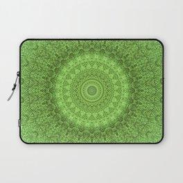 Sunflower Feather Bohemian Leaf Pattern \\ Aesthetic Vintage \\ Green Teal Aqua Color Scheme Laptop Sleeve