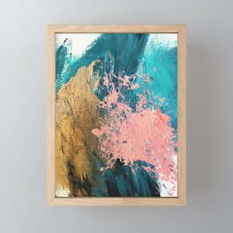 Coral Reef [1]: colorful abstract in blue, teal, gold, and pink Framed Mini Art Print