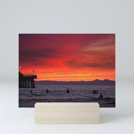 Surfers watching Sunset Mini Art Print