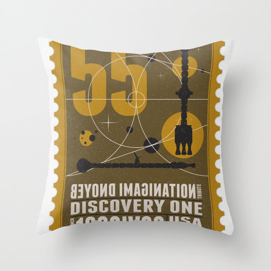 Beyond imagination: Discovery One postage stamp Throw Pillow