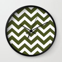 Army green - green color - Zigzag Chevron Pattern Wall Clock