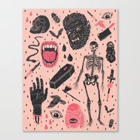 pattern Canvas Prints featuring Whole Lotta Horror by Josh Ln