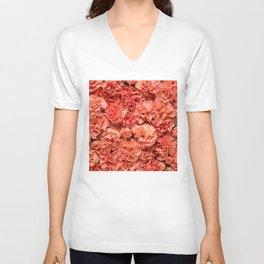 Coral Carnations Unisex V-Neck