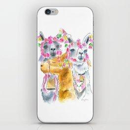 Happy alpacas watercolor iPhone Skin