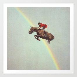 Horse over rainbow Art Print