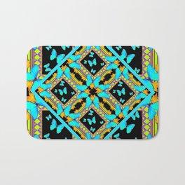 Decorative Western Style Turquoise Butterflies  Black Gold Patterns Bath Mat