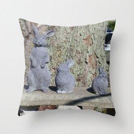 Stone Bunny Family Throw Pillow