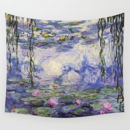 1917 Water Lilies oil on canvas. Claude Monet. Vintage fine art. Wall Tapestry