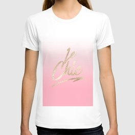 Gold Le Chic French Quote Pink Gradient T-shirt