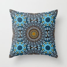 Calligraphic Boho (Blue) Throw Pillow