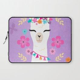 Cute Happy Llama - Purple Boho Alpaca with Flowers Laptop Sleeve