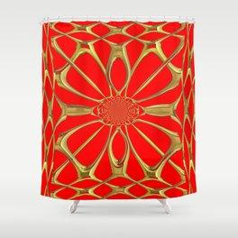 Modernistic Red-Gold Metallic Floral Web Art Design Shower Curtain