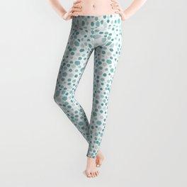 Mint Watercolor Dots - Aqua, Teal, Mint, Blue Leggings