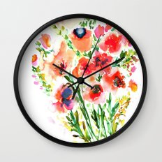 Bouquet Red Wall Clock