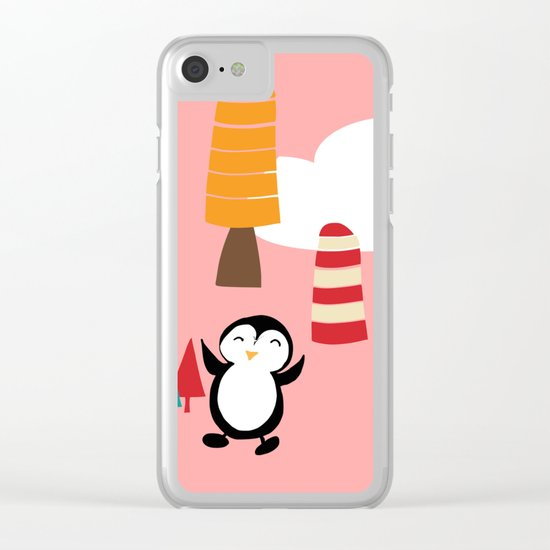 Oriana Penguin pink Clear iPhone Case