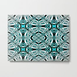 Turquoise Leaf Fashion Design Metal Print