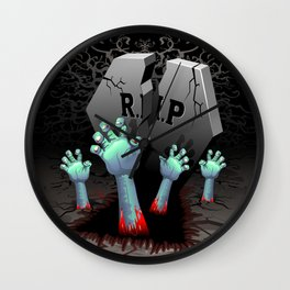 Zombie Hands on Cemetery Wall Clock