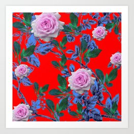DECORATIVE SPRING PINK ROSE GARDEN IN CHINESE RED Art Print